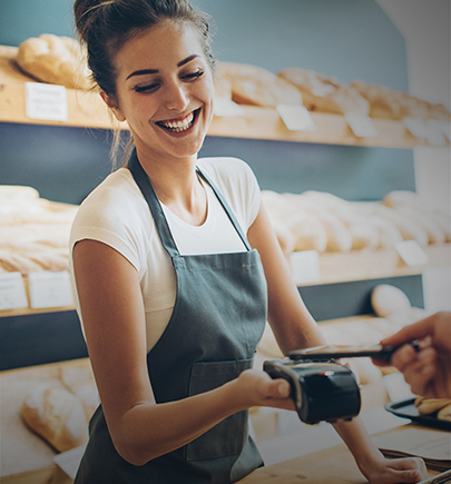 Bakery cashier using electronic payment